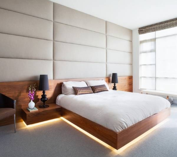 Красивая подсветка спального ложе