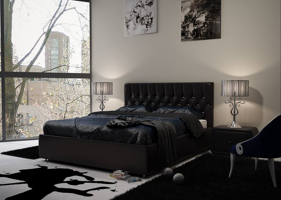 Красивые кровати двуспальные черного цвета