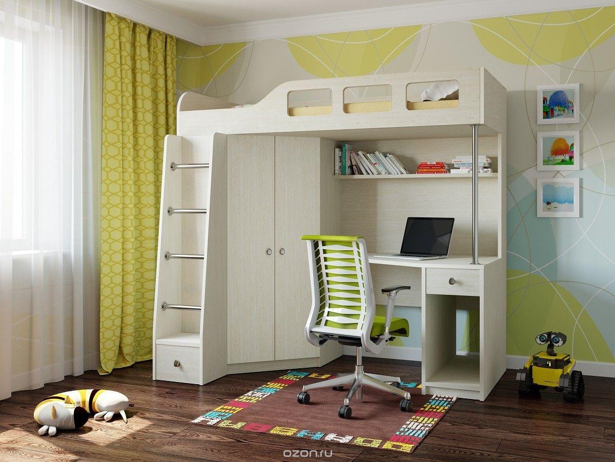 Кровать-чердак для детей от 3 лет молочного цвета