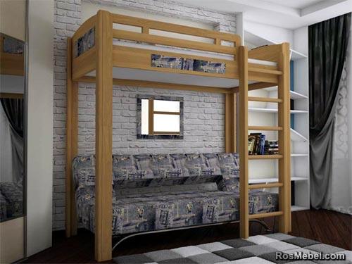 Кровать - чердак на деревянных стойках