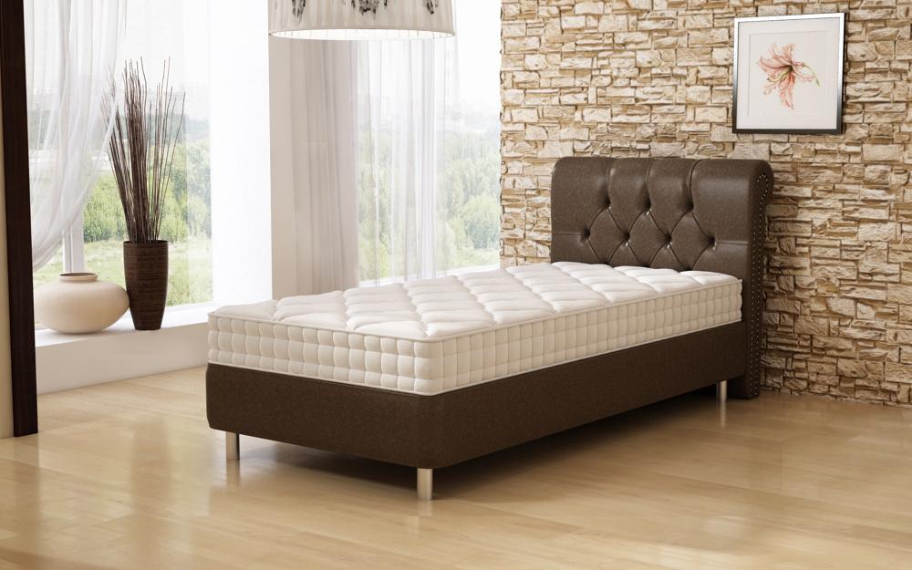 Кровать односпальная со стеганым изголовьем