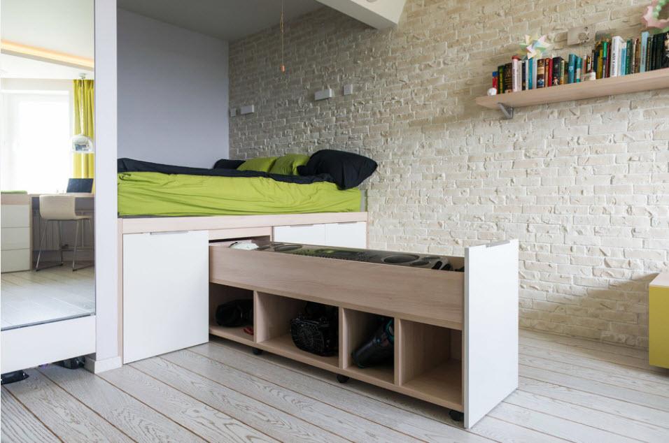 Кровать подиум в интерьере комнаты ребенка