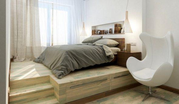 Кровать, установленная на поверхности подиума