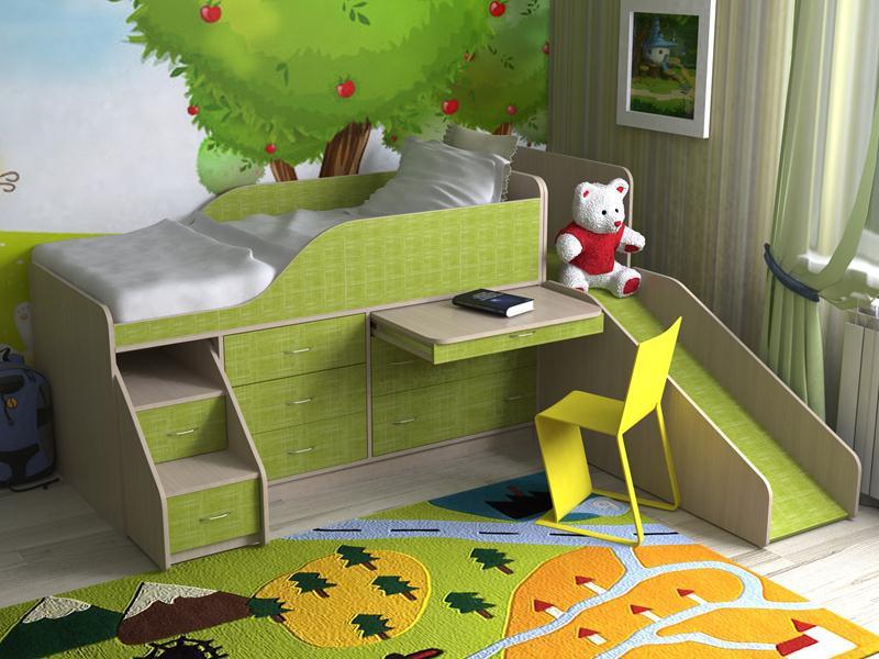Мебель с горкой зеленого цвета