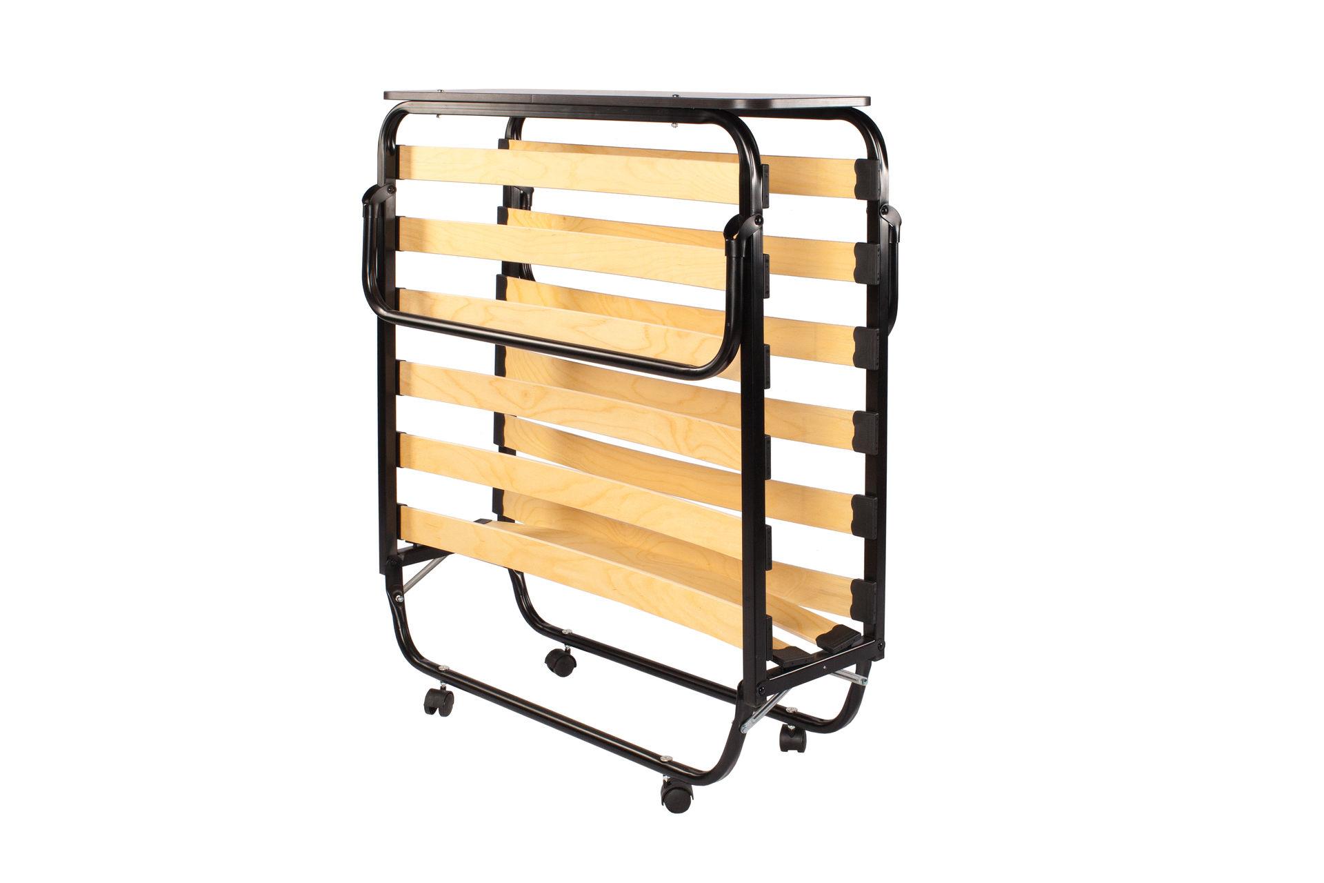 Металлическая раскладная кровать на ламелях со спинкой
