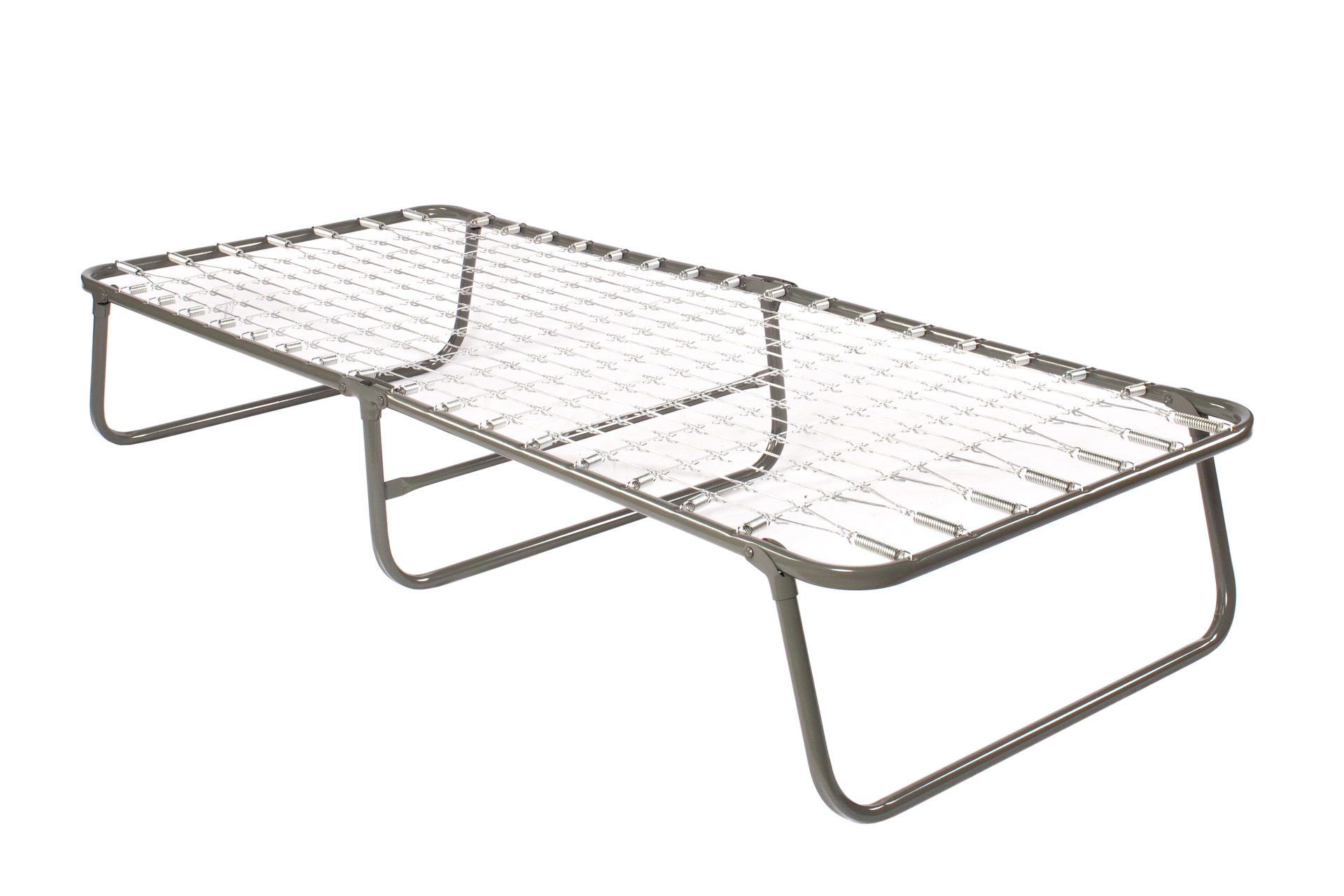 Металлическая раскладная кровать на оцинкованной сетке с матрасом
