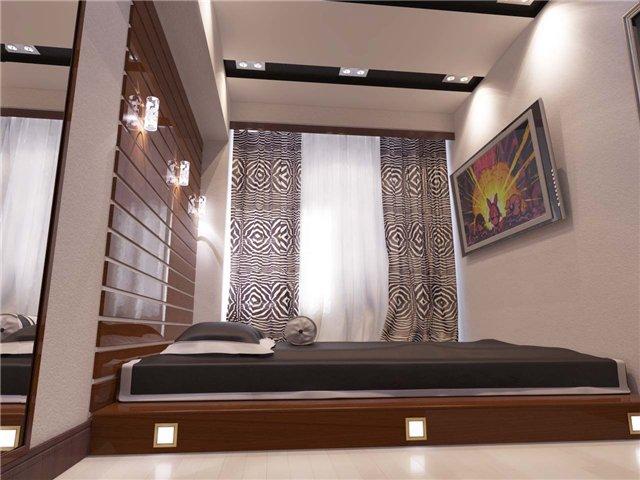 Подсветка подиума в спальне