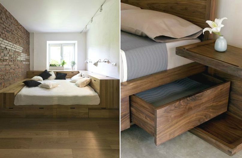 Применение подиума для кровати с ящиками