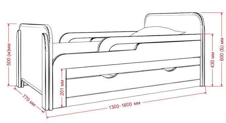 Размеры кровати для дошкольника