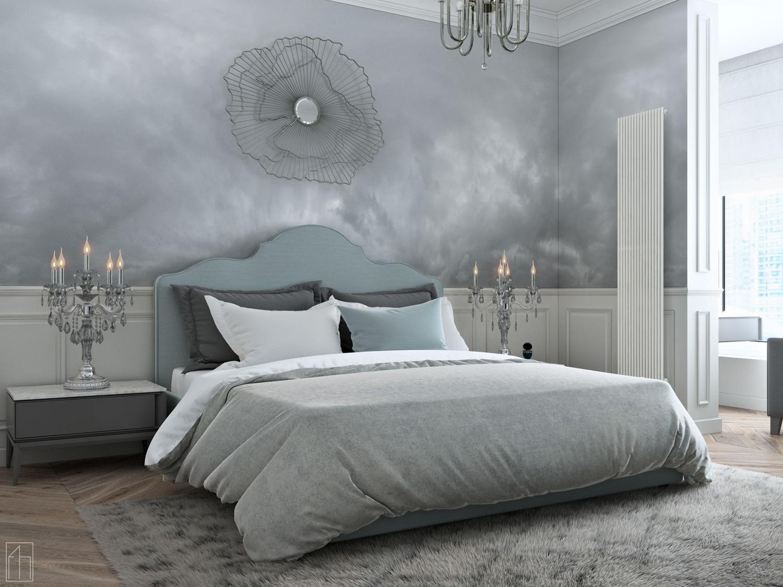 Серые оттенки комнаты для сна
