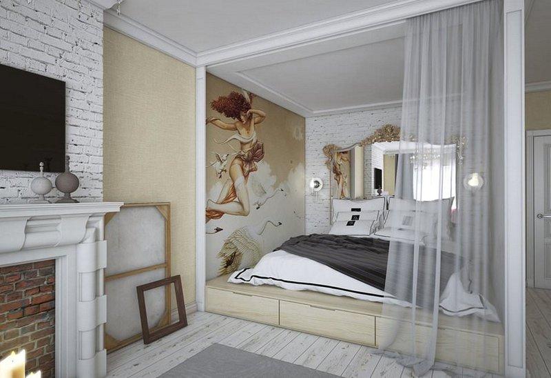 Удобная и функциональная кровать-подиум в спальне