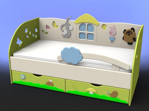 Детская кровать в виде домика с выдвижными ящиками