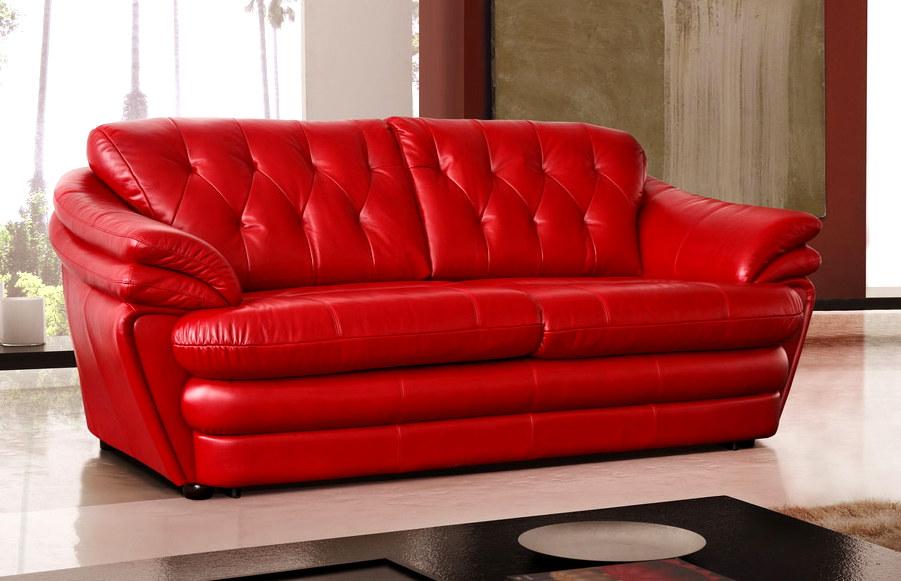 Красный диван из натуральной кожи