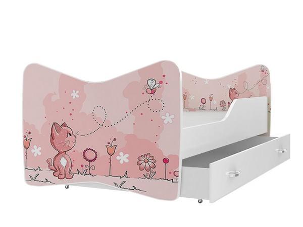 Кровать для девочки с выдвижными ящиками сбоку