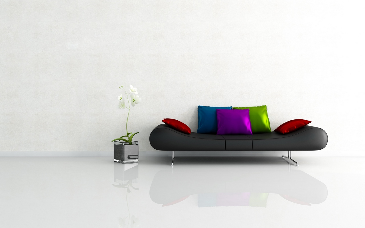 Черный диван в минималистичном интерьере