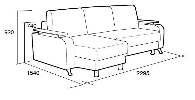 Чертеж дивана с подлокотниками