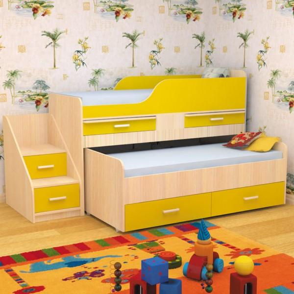 Детская кровать с лесенкой и ящиками