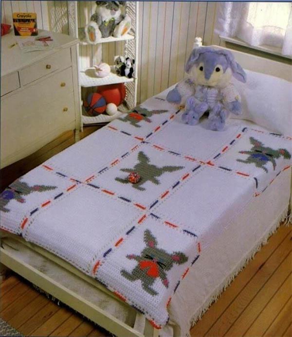 Детский плед крючком на кровать