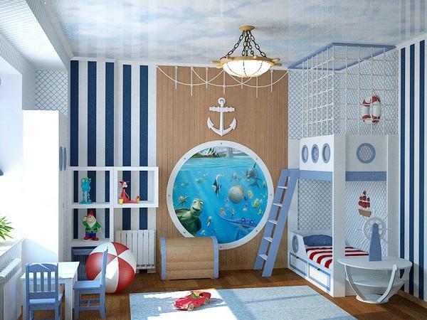 Кровать и комната в морском стиле