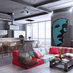 Интерьер хай-тек с ярким диваном