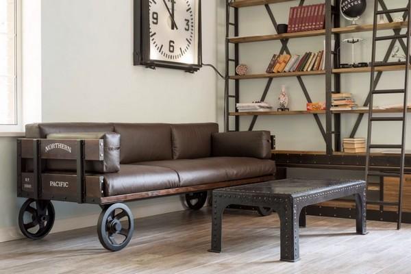 Металлический диван в стиле лофт