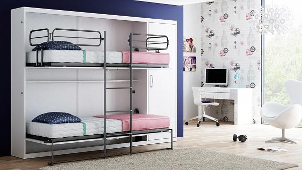 Откидная модель двухъярусной металлической кровати