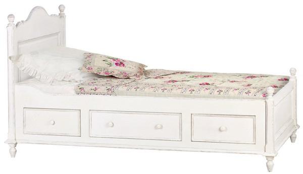 Белая детская кровать с ящиками,выдвигающимися сбоку