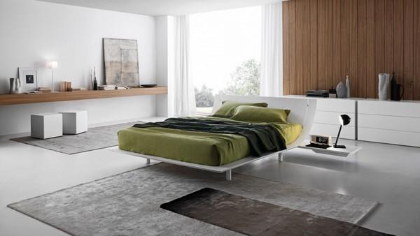 Кровать белая в стиле минимализм