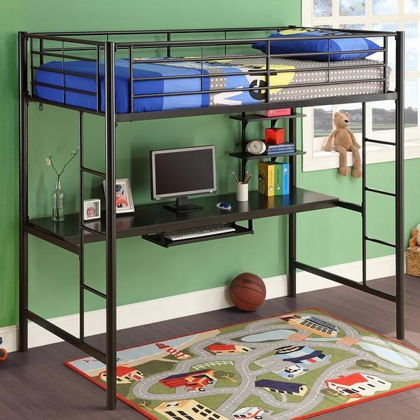 Металлическая кровать-чердак со столом снизу