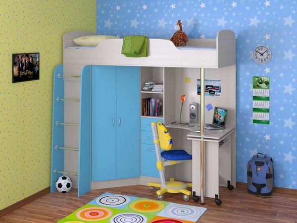Кровать-чердак Теремок с рабочим местом снизу