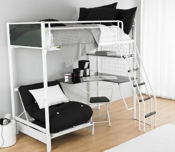Кровать-чердак для взрослых с рабочим местом