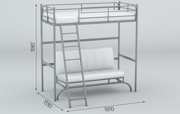 Кровать-чердак и диван