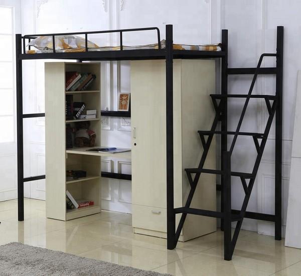 Кровать-чердак в стиле лофт со шкафом