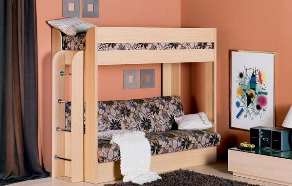 Кровать-чердак раскладным диваном