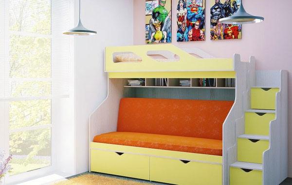 Кровать-чердак разноцветная