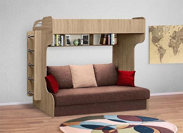 Кровать-чердак с диваном еврокнижка