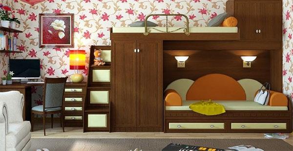 Кровать-чердак с диваном и рабочей зоной