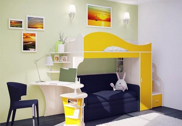 Кровать-чердак с диваном и столом