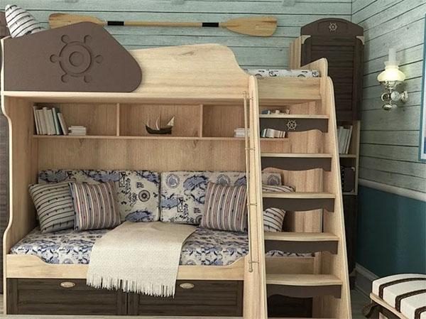 Кровать-чердак с диваном и ящиком внизу