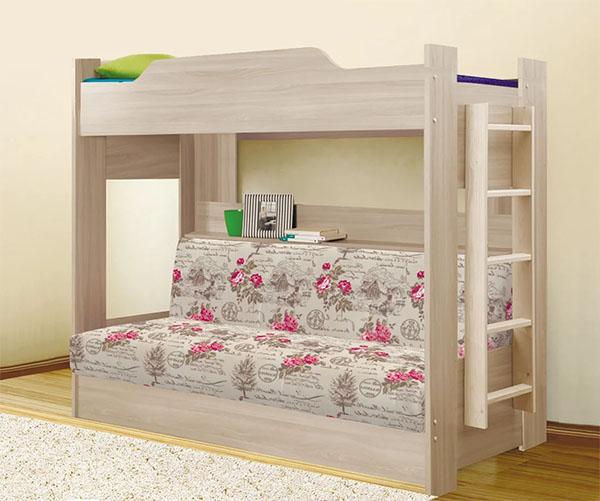 Кровать-чердак с диваном из ЛДСП