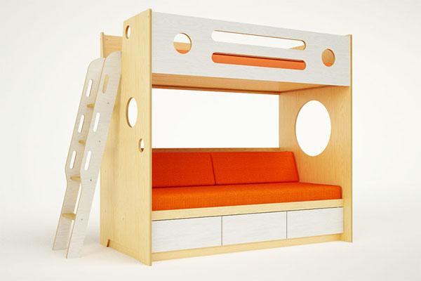 Кровать-чердак с диваном из фанеры