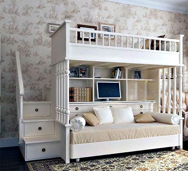 Кровать-чердак с диваном из массива дерева