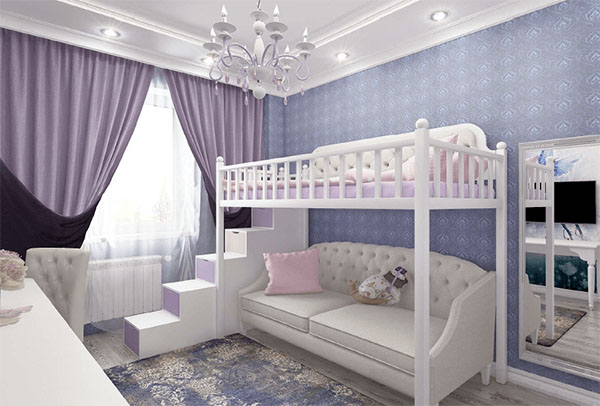 Кровать-чердак с диваном в интерьере комнаты