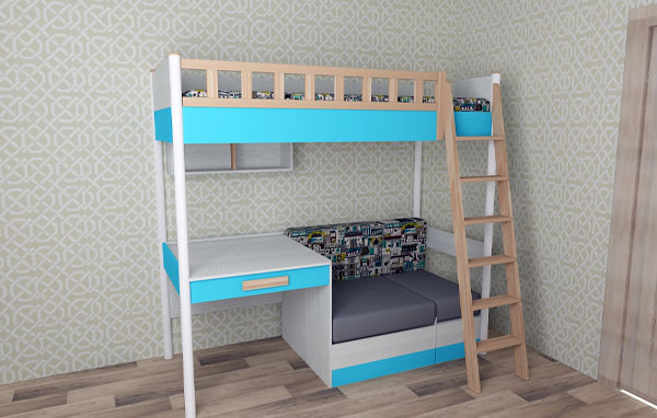 Кровать-чердак с вертикальной лестницей