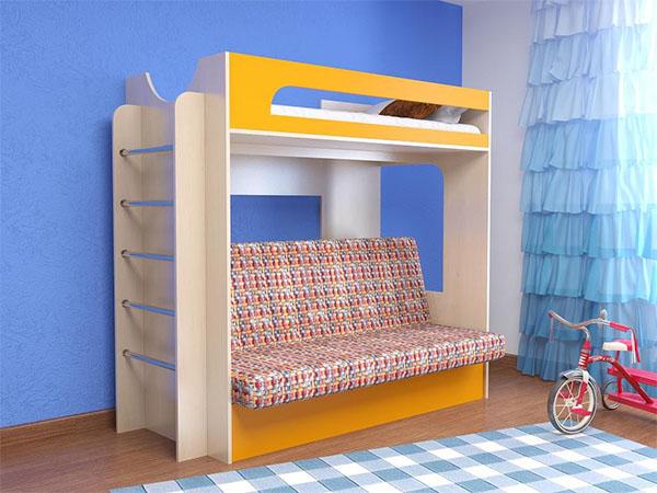 Кровать-чердак с встроенным диваном