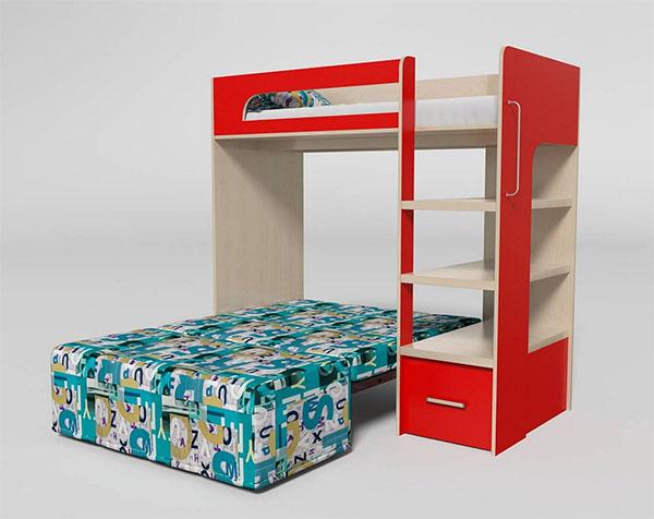 Кровать-чердак с выдвижным диваном