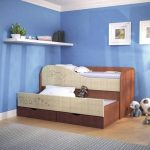 Кровать двухъярусная с выдвижной кроватью