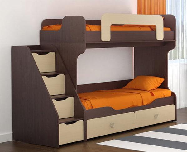 Кровать с лестницей комод