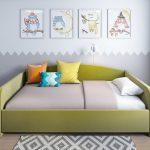 Кровать с тремя бортиками из кожзама