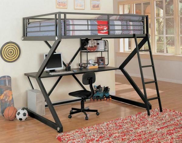 Кровать-чердак со столом внизу
